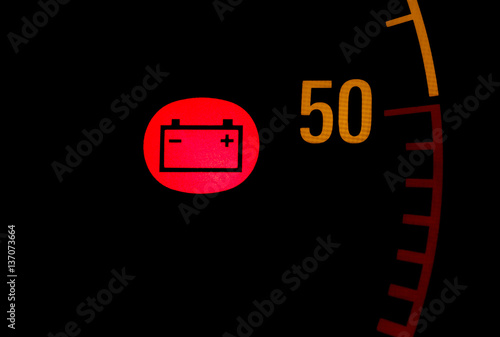 Battery Low Red Light Icon On Car Dashboard Buy This Stock Photo