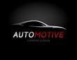 Automotive car logo design with concept sports vehicle silhouette