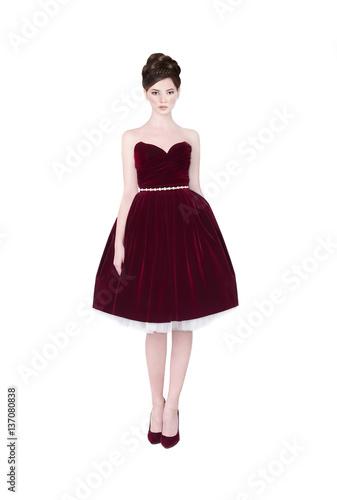 Beautiful girl in prom dress. Fototapet
