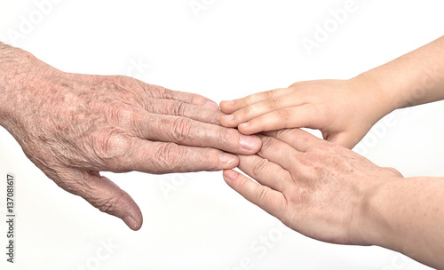 Hands of three generations - old man, woman and child Wallpaper Mural