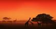 african wildlife editable vector illustration - savannah at sunset