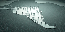 South America Population. 3D Illustration Of People On The Map, Representing The Country's Demography.