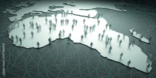 Foto op Canvas Afrika Africa Population. 3D illustration of people on the map, representing the country's demography.
