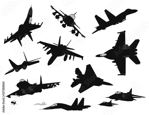Military aircrafts vector silhouettes set Canvas Print