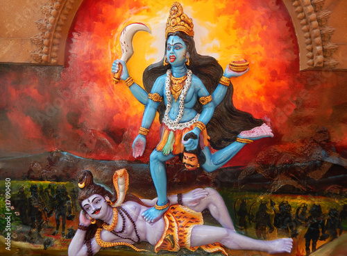 Wall art of Indian Hindu Goddess Shakti and god Shiva in Jagannath temple