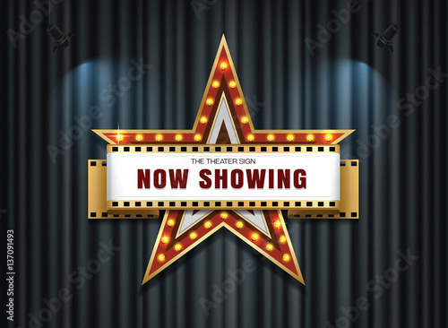 Photo  theater sign star with spot light