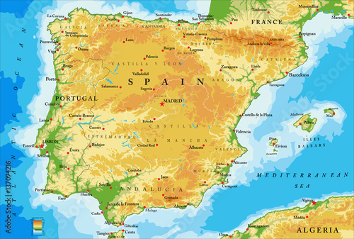 Spain physical map Canvas Print