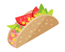 Mexican Hotdog Isolated On Whi...