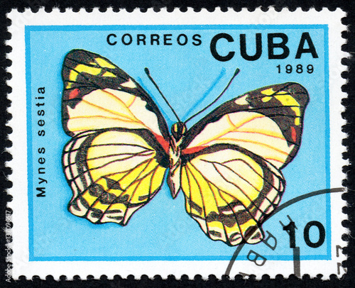 UKRAINE - CIRCA 2017: A stamp printed in Cuba, shows image of a butterfly Mynes Canvas Print