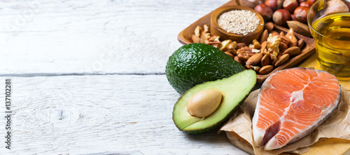 Foto op Aluminium Assortiment Selection of healthy fat sources food, life concept