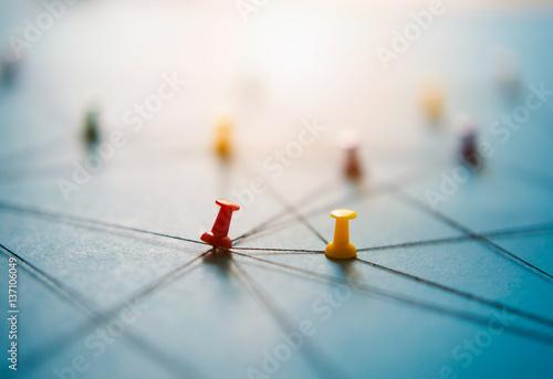 Fototapeta Close up network push pins link together, close-up obraz