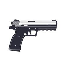 Modern Pistol, Handgun Isolated On White, Vector Illustration