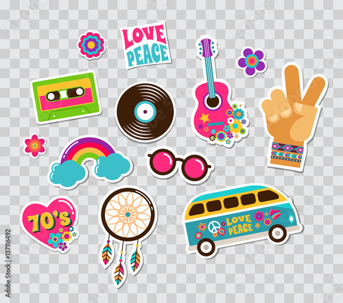Fotografía Hippie, bohemian stickers, pins, art fashion chic patches, pins, badges and icon