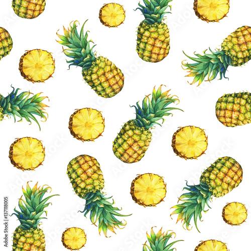 bezszwowy-wzor-swiezy-owocowy-ananas-z-zielonymi-liscmi-recznie-rysowane-akwarela-malarstwo-na-bialym-tle