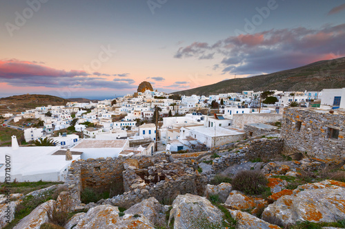 Chora village on Amorgos island early in the morning. Canvas Print