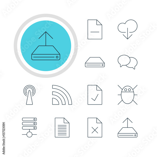 Vector Illustration Of 12 Network Icons  Editable Pack Of