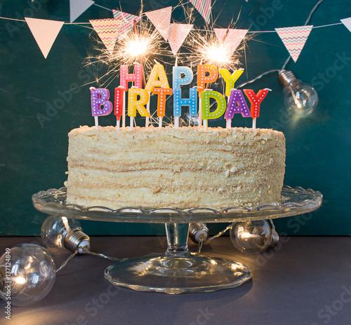 Surprising Happy Birthday Cake With Sparklers Greeting Card Buy This Stock Funny Birthday Cards Online Inifodamsfinfo