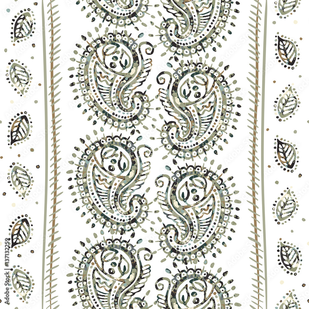 Indian seamless pattern. Vector wallpaper with Paisley