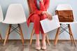Leinwandbild Motiv Young woman waiting for interview indoors