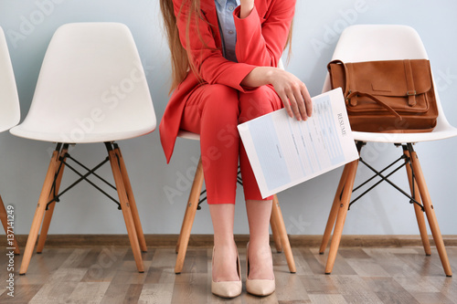Young woman waiting for interview indoors Canvas Print