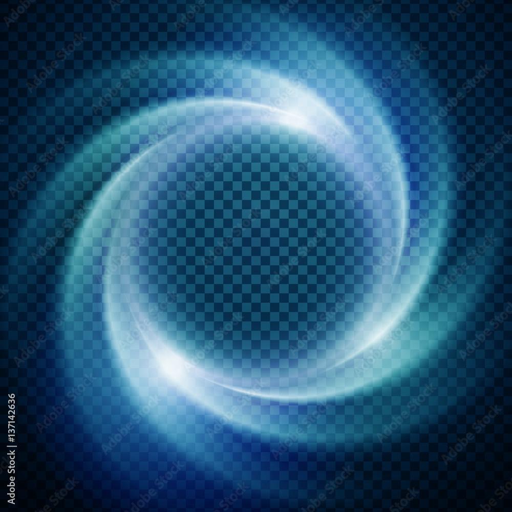 Fototapety, obrazy: Vector light effect on transparent background. Glowing cosmic vortex or super nova illustration.