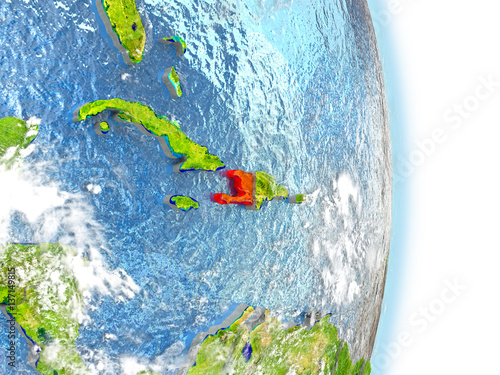 Photo Haiti in red on Earth