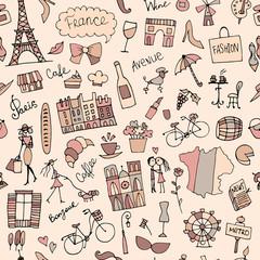 Tapeta France sketch, seamless pattern for your design