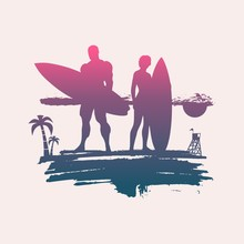 Woman And Man Posing With Surf...