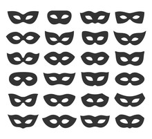 Set Collection Of Black Carnival Masquerade Masks Icons Isolated