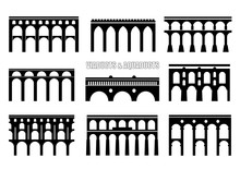 Set Of Bridge Silhouettes. Viaducts, Aqueducts, Rail And Multilevel Arched Bridges. Concept For Logo, Icon.