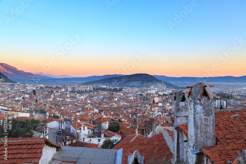 Fotografie, Obraz  Mugla ariel cityscape from old city part.