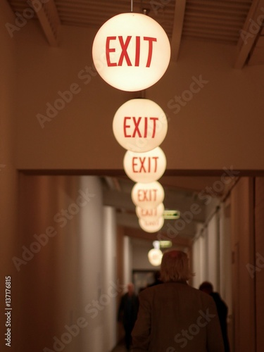 Row of ceiling lights marking the way to the exit Wall mural