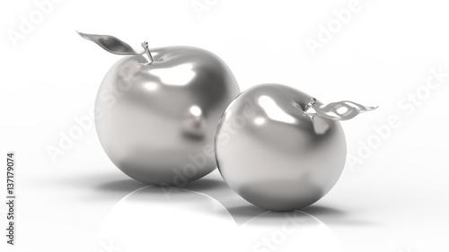 Srebrne jabłka na białym tle