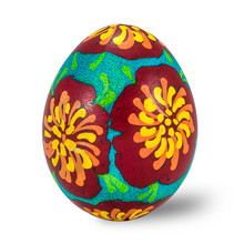 Hand Painted Easter Egg Isolated In White Background With Clipping Path