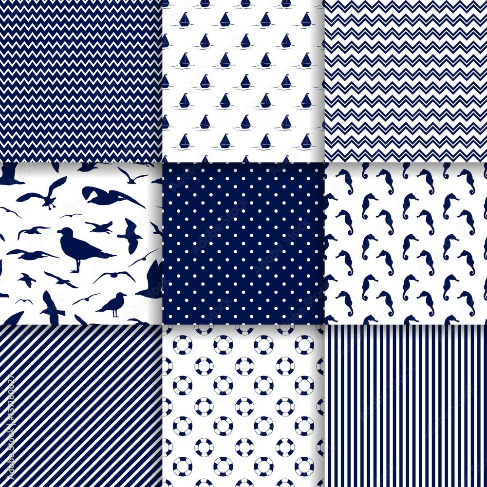 Marine seamless pattern set vector background