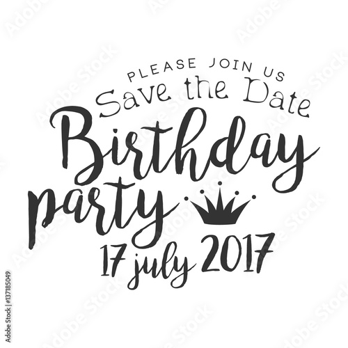 Fotografie, Obraz  Birthday Party Black And White Invitation Card Design Template With Calligraphic