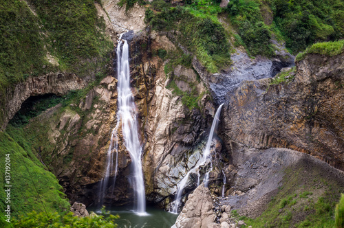 Fototapeta Waterfalls along the Waterfall route near Banos, Ecuador