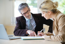 Woman Meeting Notary For Advice
