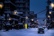 Takayama city in the winter night, it's a city in the mountainous Hida region of Gifu Prefecture