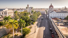 View On Jose Marti Park With Town Hall And Cathedral In Cienfuegos, Cuba