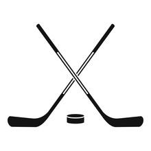Ice Hockey Sticks Icon, Simple...