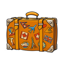 Hand Drawn Retro Style Travel Suitcase With Colorful Labels, Sketch Vector Illustration Isolated On White Background. Realistic Hand Drawing Of Old Fashioned Suitcase With Tourist Labels