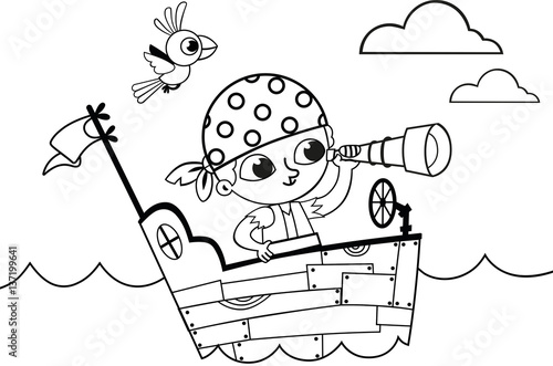 Fotobehang Cartoon draw Black and white little pirate for coloring book activity. (Vector illustration)