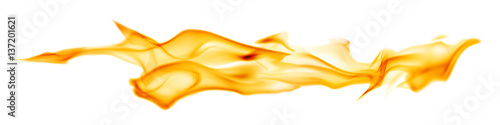 Photo sur Toile Feu, Flamme yellow long fire stripe isolated on white