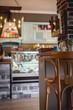 interior of trendy retro bar and kitchen