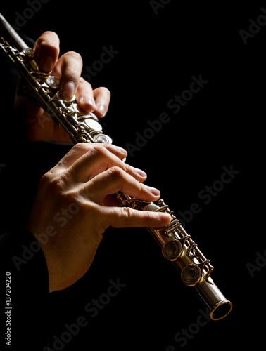Plakat Flet w rękach - muzyczny tło
