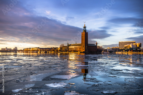 January 21, 2017: Panorama of the City Hall of Stockholm by the ice, Sweden