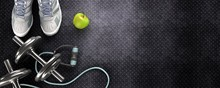 Fitness Background With Dumbbells. View From Above