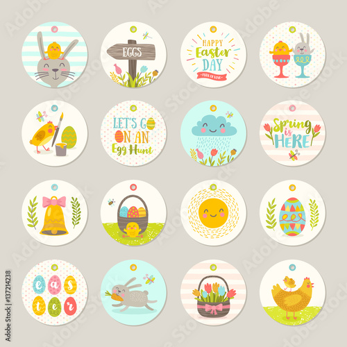 Set of easter gift tags and labels with cute cartoon characters and set of easter gift tags and labels with cute cartoon characters and type design easter negle Choice Image