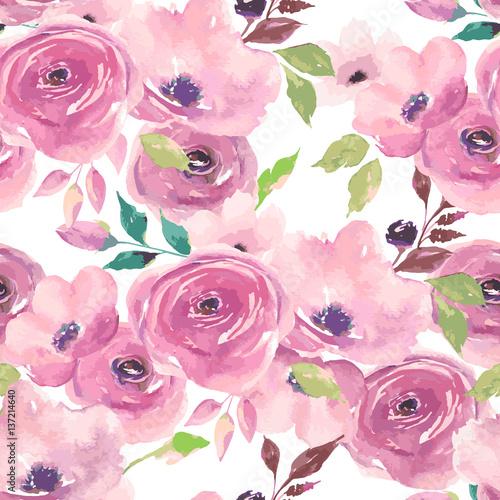 akwarela-powielany-wzor-malowane-eleganckie-kwiaty-bukiet-roz